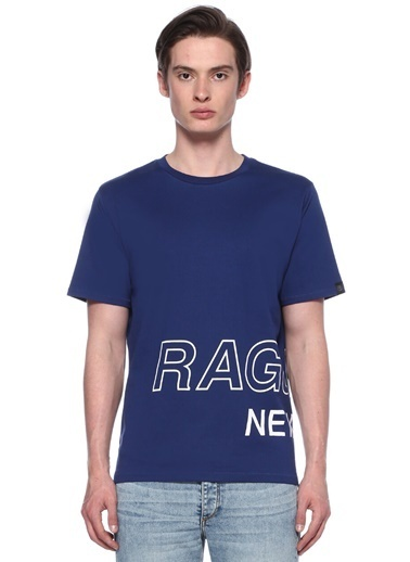 Rag&Bone Bisiklet Yaka Baskılı Tişört Saks